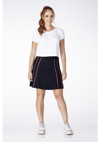 shorts saia preto com costura rosa poliamida moda fitness evangelica epulari