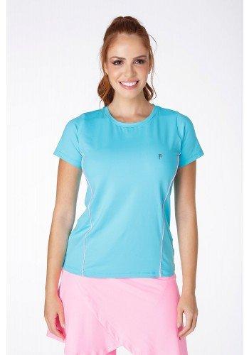 t shirt fitness azul claro com friso rosa em poliamida com uv 50 manga curta