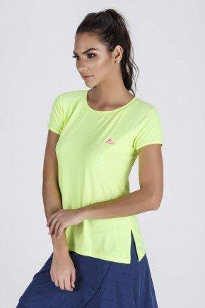 blusa fitness feminina abertura lateral amarelo neon epulari detalhe lateral