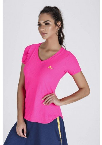 blusa fitness feminina alongada rosa neon epulari galao amarelo
