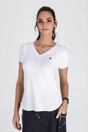 t shit feminina cor branca modelo alongada propria para fitness frente ep004