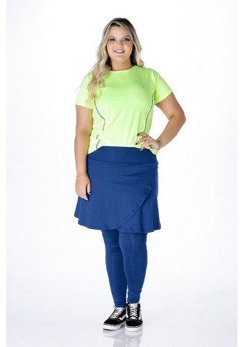 saia calca azul transpassada moda fitness evangelica para gordinhas epulari frente ep0201
