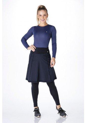 saia cala comprida moda fitness evangelica alta compressao linha preta frente
