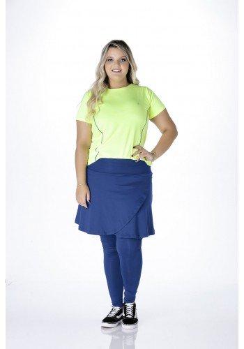 saia calca azul transpassada moda fitness evangelica para gordinhas epulari