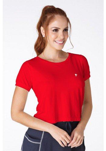 t shirt cropped poliamida protecao uv vermelha frente