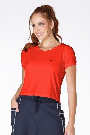 t shirt cropped poliamida protecao uv laranja frente