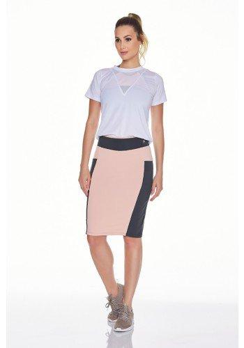 shorts saia emana plus na cor chumbo com rosa moda fitness evangelica epulari frente