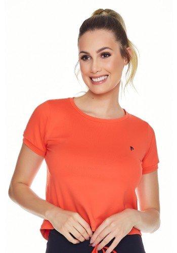 t shirt cropped laranja fitness poliamida uv50 epulari frente