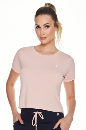 t shirt cropped fitness rose poliamida uv50 epulari frente