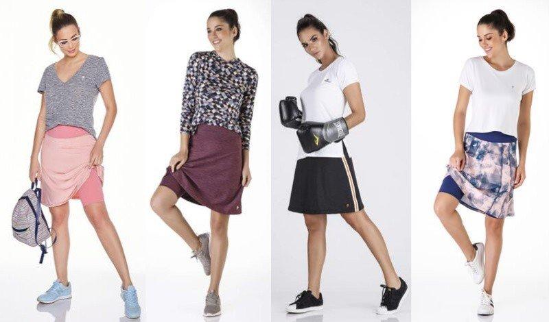 01 saia shorts evase modelos diferentes sora roxa preta e estampada