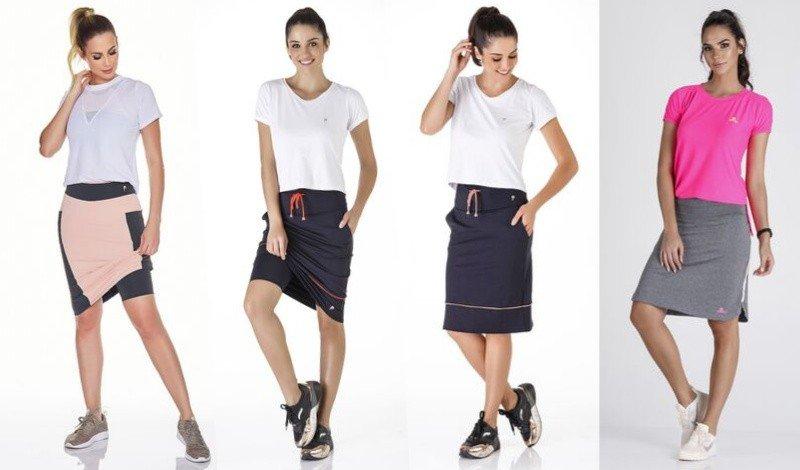 02 saia shorts justa modelos diferentes rosa preto e cinza