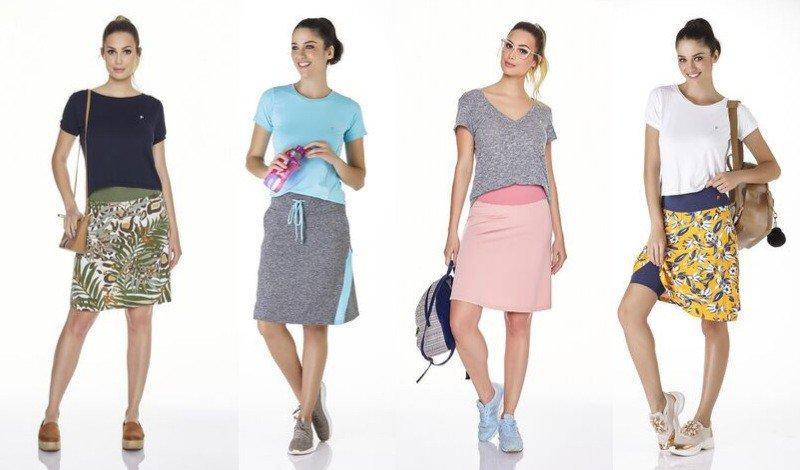 05 saia shorts dia a dia modelo estampado cinza e rosa