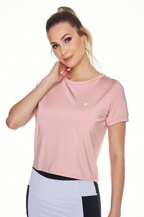 t shirt cropped fitness rose poliamida leve manga curta uv50 epulari frente