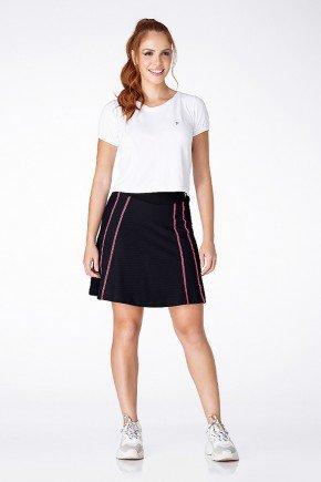 shorts saia preto com costura rosa poliamida moda fitness evangelica epulari easy