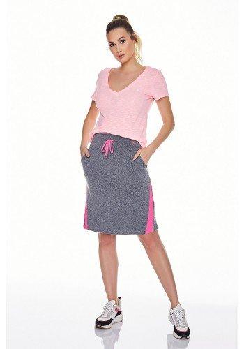 saia shorts fitness evangelica epulari mescla detalhe rosa frente