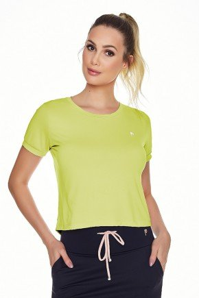 t shirt cropped fitness verde poliamida uv50 epulari frente
