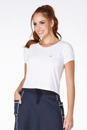 t shirts cropped poliamida branco fitness uv 50 frente
