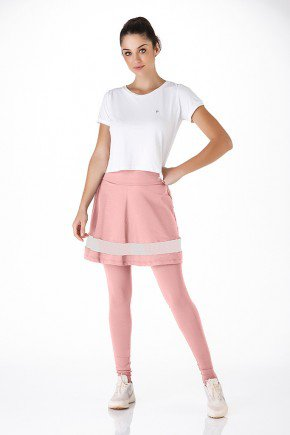 saia calca fitness com pezinho rose emana alta compressao epulari frente