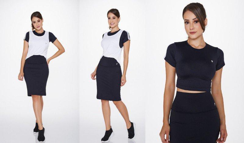 post blog moda fitness evangelica top com protecao uv com saia shorts