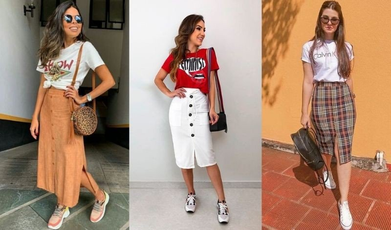 posts para blog cropped t shirt saia midi ampla tenis casual