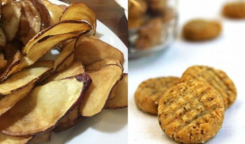 chips de bata doce e bolinho de grao de bico