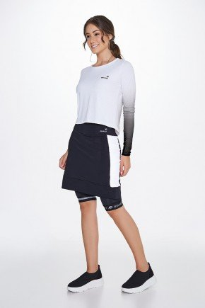 shorts saia ciclista preto branco com almofada uv50 epulari frente