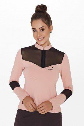 blusa fitness manga longa rose ziper busto detalhe tule preto uv50 epulari ep060 frente