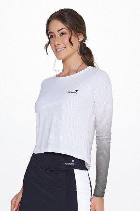 blusa branca degrade cinza manga longa poliamida uv50 epulari frente cima