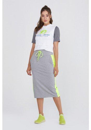 shorts saia midi mescla moletom com amarelo neon epulari ep070 frente