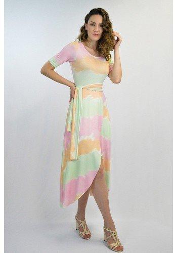 vestido moda praia viscolycra tie dye midi lekazis