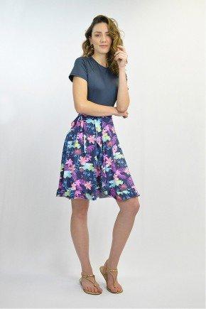 shorts saia moda praia evangelica azul estampado poliamida lekazis