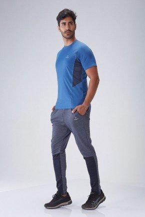 camiseta fitness masculina azul com protecao uv50 poliamida holyfit frente