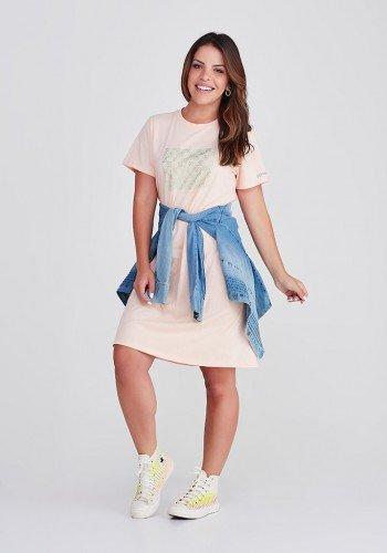 vestido camisetao de algodao na cor salmao com strass da marca epulari