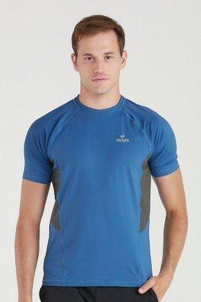 camiseta fitness masculina azul com protecao uv50 detalhe cinza poliamida holyfit 3