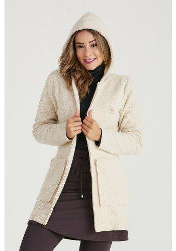 casaco bege carneiro com capuz e bolsos termico epulari frente