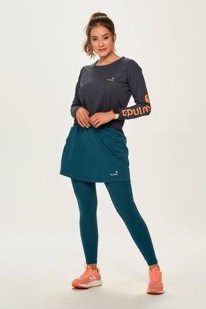 saia calca comprida ciclista com almofada feminina alta compressao azul petroleo epulari