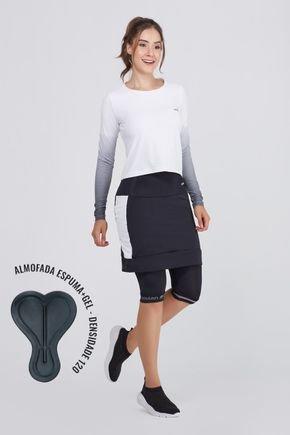 shorts saia ciclista preto branco com almofada uv50 epulari2