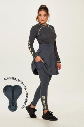 saia calca comprida ciclista com almofada alta compressao com estampa amarela protecao uv50 epulari 3