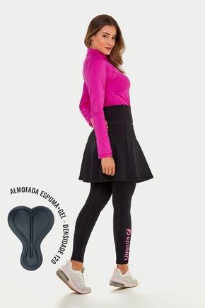 saia calca comprida preta ciclista com almofada poliamida protecao uv50 epulari lateral