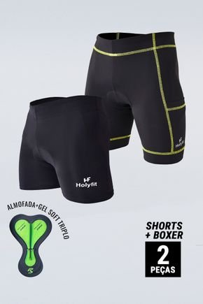 kit 2 shorts para ciclismo preto com espuma gel d801